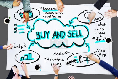 Business People Pointing on Advertisement Concept