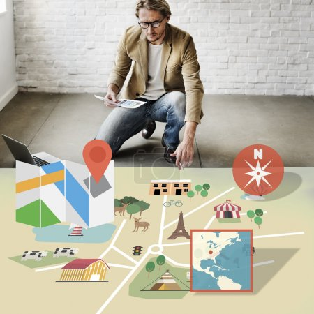businessman working with map