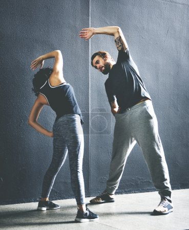 sportive couple doing Exercises