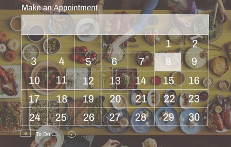 table with food and calendar Concept