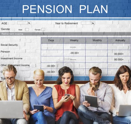 people sit with devices and pension plan