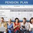 Постер, плакат: People sit with devices and pension plan
