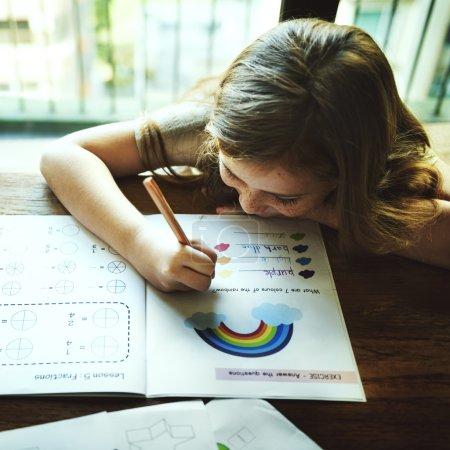 Girl Drawing in coloringbook