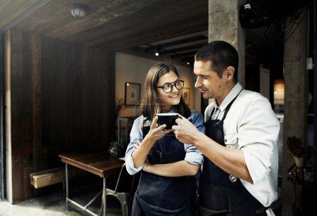 Beautiful baristas couple