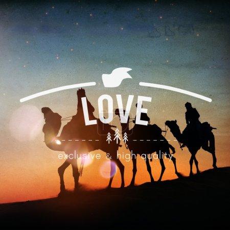 Men riding camels through desert