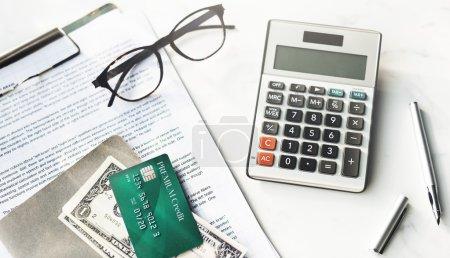 Credit Card, Money on desk.