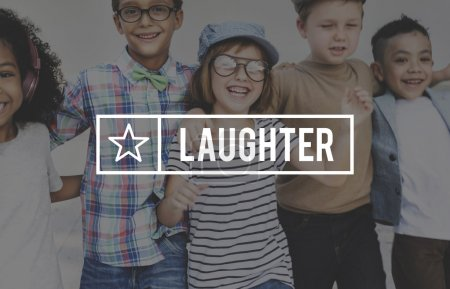 Photo for Kids laughing and have fun. Joyful and youth Concept with  text: laughter - Royalty Free Image