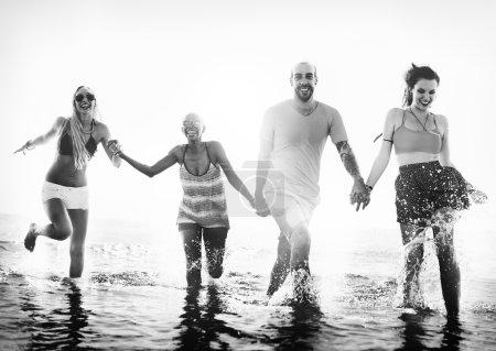 Friends have fun at beach