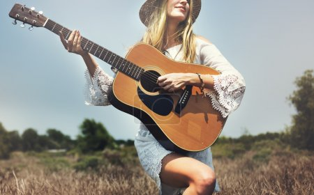 Beauty Woman with guitar