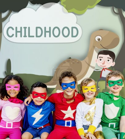 Superhero kids have fun together