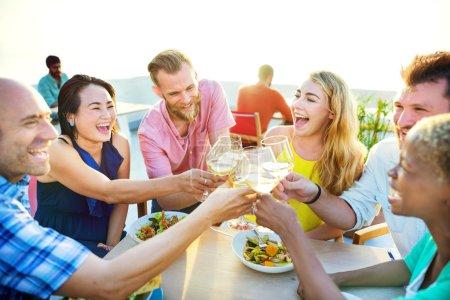 happy people in restaurant