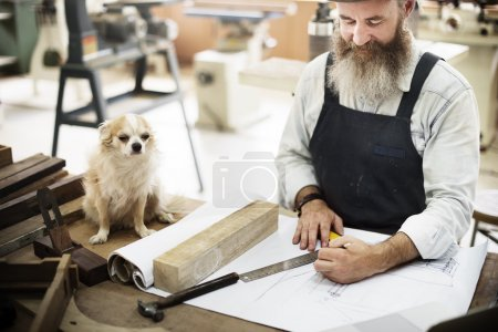 handsome craftsman with beard