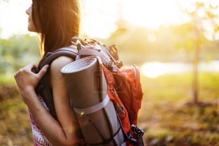 Photo for Happy woman travelling with backpack, Traveling Concept - Royalty Free Image