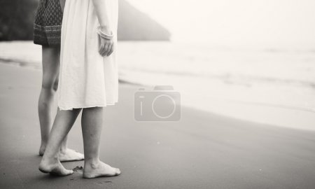 Photo for Women Together on Beach, Friends Concept - Royalty Free Image