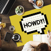 Table with poster with howdy concept