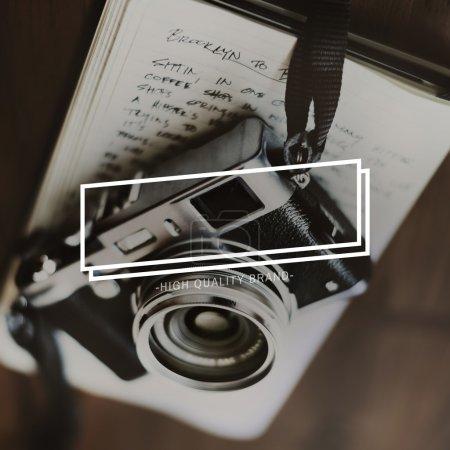 black vintage photo camera