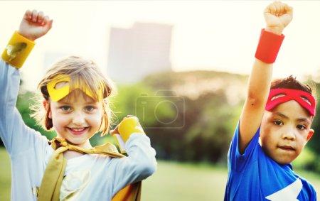 Children in costumes of superheroes