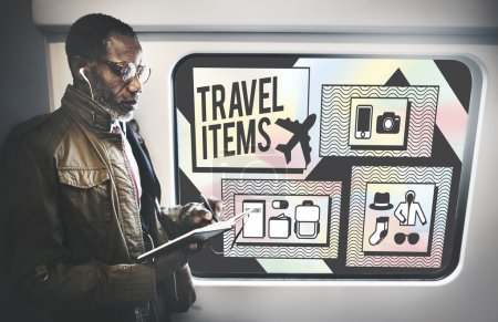 man and Travel Items Accessories Concept