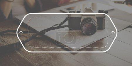 vintage photo camera at table