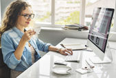 lady working with computer at office