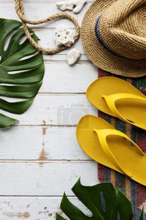 summer flip flop and hat