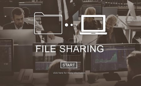 business people working and File Sharing