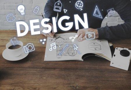designer man drawing