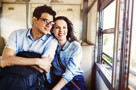 Couple in Train traveling