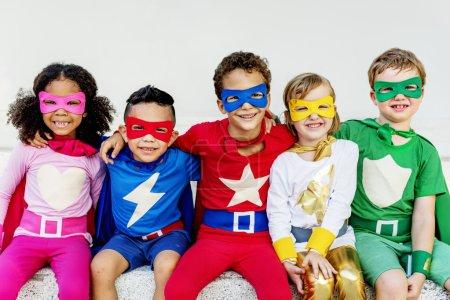 Superhero kids playing and have fun