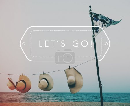Photo for Summer hats on beach, Concept Lets Go - Royalty Free Image