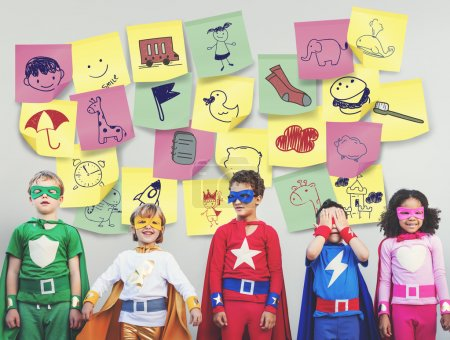 Happy cherful Superhero Kids