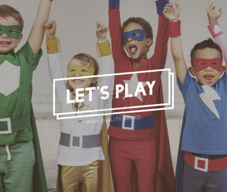 Photo for Superhero Kids playing together, Lets Play Concept - Royalty Free Image