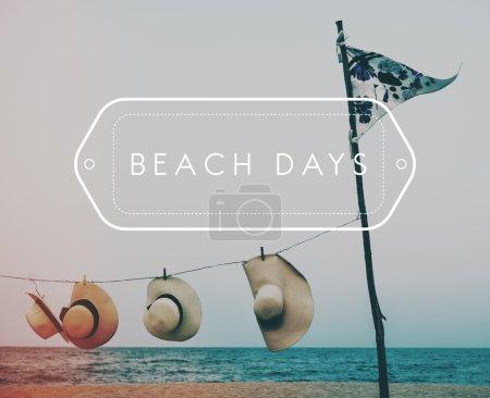 summer hats on beach