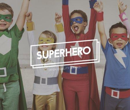 Superhero Kids playing and laughing
