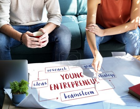 woman showing on poster with Young Entrepreneur
