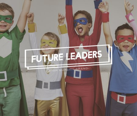 Photo for Kids in Superhero costumes, Childhood Concept with text: Future Leaders - Royalty Free Image