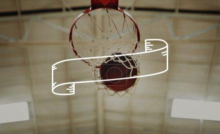 ball in basketball hoop