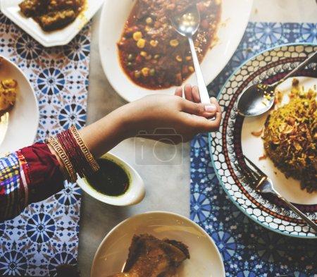 Indian friends in restaurant
