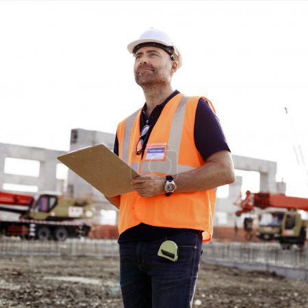 Construction Worker witht architecture Plan