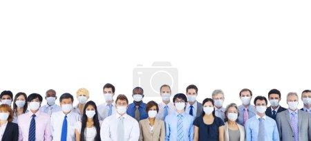Foto de Grupo grande de empresarios mantener silencio - Imagen libre de derechos