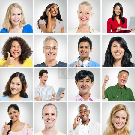 Group of positive people portraits