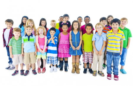 Group of children standing in line