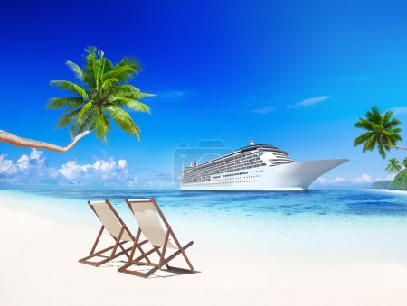 Cruise liner on beach