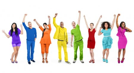 Multi-Ethnic People with Arms Raised
