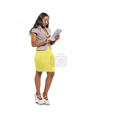 Casual Woman Using Digital Tablet
