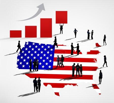 Business People On USA flag