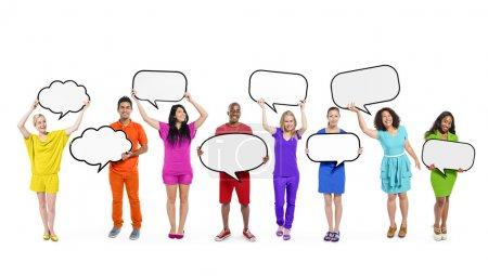 People Holding Blank Speech Bubbles