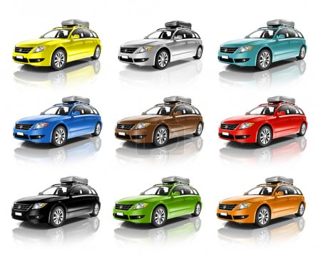 Collection of Colorful 3D Family Cars