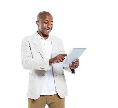 African Man Holding An Ipad