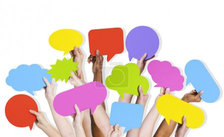Arms Raised with Speech Bubbles
